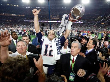Feb 1, 2015; Glendale, AZ, USA; New England Patriots quarterback Tom Brady (12) celebrates after beating the Seattle Seahawks in Super Bowl XLIX at University of Phoenix Stadium. Mandatory Credit: Matthew Emmons-USA TODAY Sports ORG XMIT: USATSI-185920 ORIG FILE ID: 20150201_pjc_se2_311.JPG